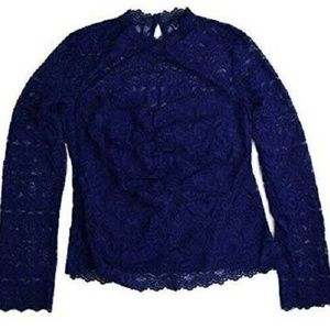 Guess XL Blue Lace Top 6B34